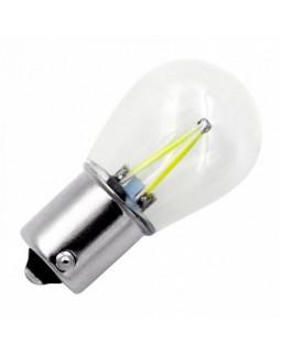 LED Автолампа P21W(1156) 12-24V White Glass LONGTEK (БЕЛЫЙ) (К1) BA15s