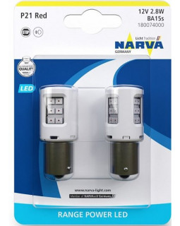 LED Автолампа P21W(1156) 12V 2,8W Range Power LED NARVA (КРАСНЫЙ) (блистер 2 шт)