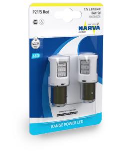 LED Автолампа P21/5W(1157) 12V 2,8/04W Range Power LED NARVA (КРАСНЫЙ) (блистер 2 шт)