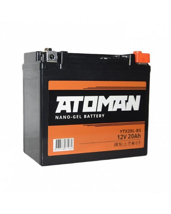 Мото аккумулятор ATOMAN Nano Gel 12V 20Ah (YTX20L-BS)