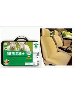 Меховая накидка на сиденье Green Star Premium светло-бежевая