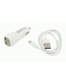 Автомобильное ЗУ USB*2 2А + кабель 8Pin iPhone 5/6/7/8/X Continent белый ZA20-292WT /Si1(3)