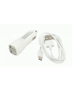 Автомобильное ЗУ USB*2 2А + кабель microUSB Continent белый ZA20-292WT /S1(3)