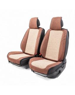 Накидки на сиденье Car Performance передние 2 шт fiberflax коф/бежевые 10шт/уп CUS-3024 COFFEE/BE