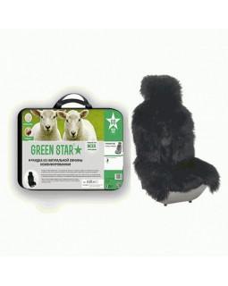 Меховая накидка на сиденье с мехом волка Green Star черная