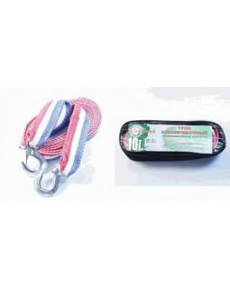 Трос 10т 4,5м буксировочный лента 2 крюка Эконом в сумке Полярник 225-003